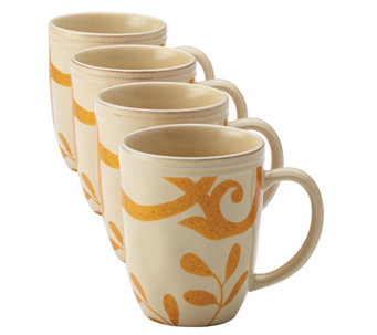 Rachael Ray Dinnerware Gold Scroll 4-Piece MugSet - H290242