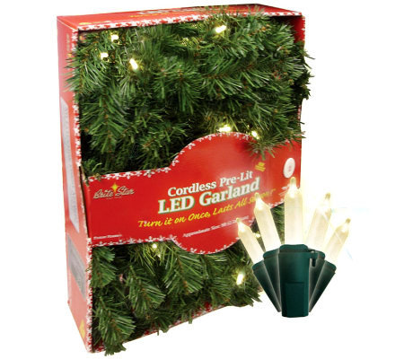 Batt. Operated 9' Fir Garland w/35 Micro-Mini Warm White LEDs