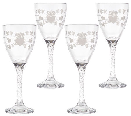 Eamon Glass Set of 4 Wine Glasses with Claddagh Design