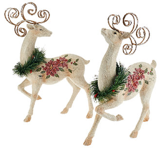 S/2 Decorative Reindeer with Poinsettia Design by Valerie - H205343