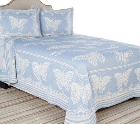Butterfly Trail 100% Cotton Jacquard Bedspread w/ Sham(s)