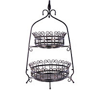 2-Tier Scroll Basket Tabletop Stand - H209643