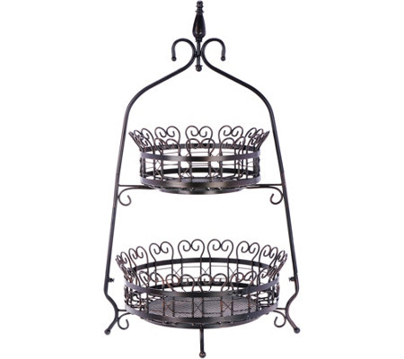 2-Tier Scroll Basket Tabletop Stand