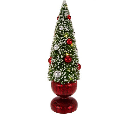 Bottlebrush Lit Tree with Ornaments and Mercury Glass Base by Valerie