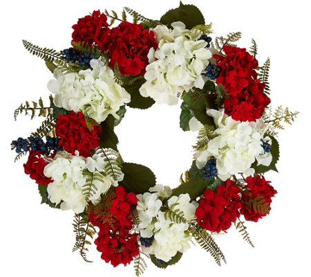 Red, White and Blue Hydrangea Wreath by Valerie