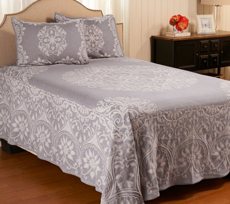 """As Is"" Medallion Jacquard 100% Cotton King Bedspread"