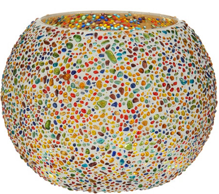 Jeweled Mosaic Rose Bowl w/ Microlights by Valerie