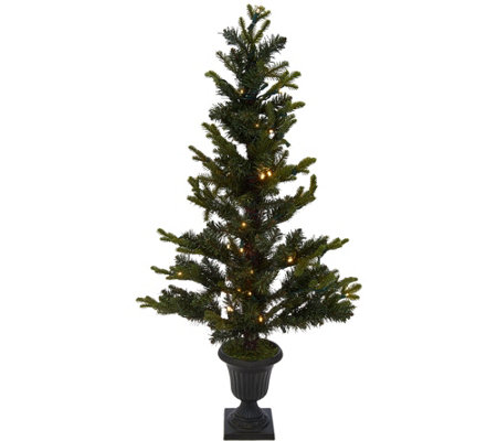 """As Is"" 42"" Prelit Slim Pine Tree in Decorative Urn by Valerie"