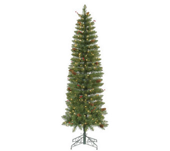 7.5' Salinas PVC Pencil Tree w/ Clear Mini Lights by Vickerma - H281943