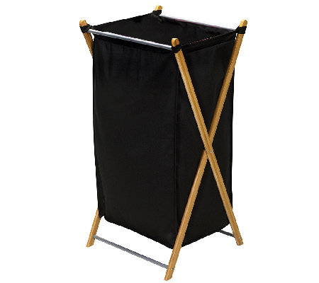 Household Essentials Bamboo & Canvas X-Frame Laundry Hamper