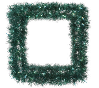 "30"" Square Lit Tinsel Wreath by Vickerman - H287743"
