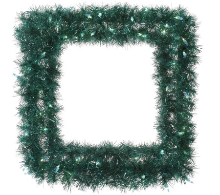 "30"" Square Lit Tinsel Wreath by Vickerman"