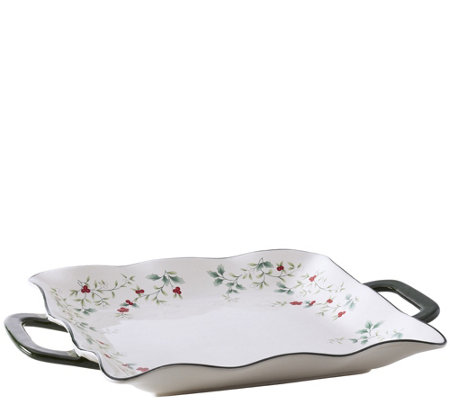 Pfaltzgraff Winterberry Square Platter with Handles