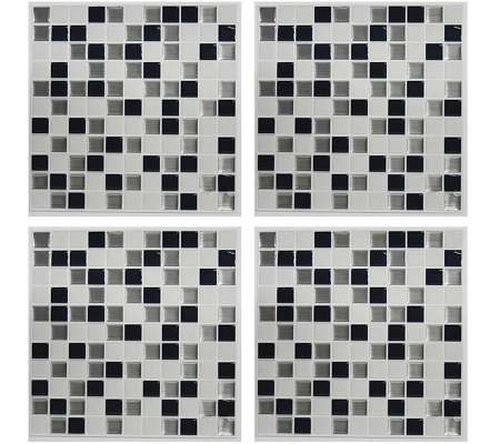 RoomMates Black & White Mosaic StickTILES - 4 Pack
