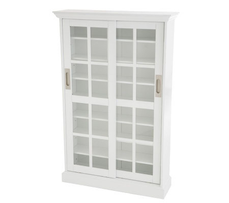 Lyndon Sliding Door Media Cabinet - White Finis
