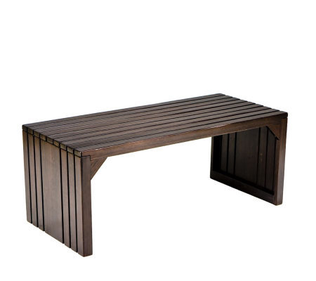 Reston Espresso Slatted Bench/Cocktail Table