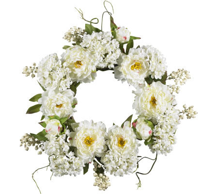 "20"" Peony Hydrangea Wreath by Nearly Natural"