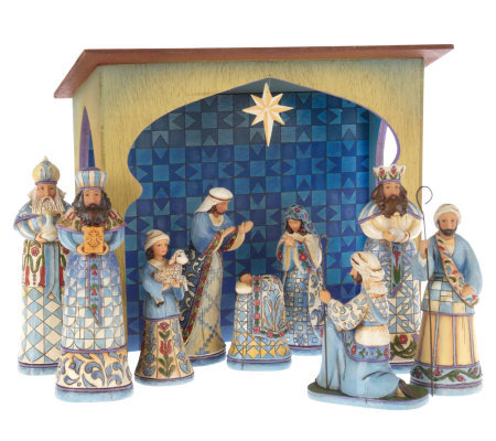 Jim Shore Heartwood Creek 10 Piece Blue Nativity Set