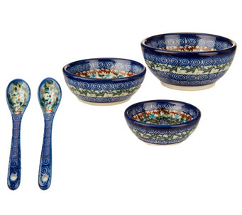 Lidia's Polish Pottery 3-piece Bowl Set with Utensils - H202544