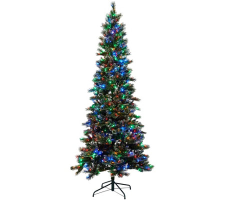 Kringle Express 9' Glittery Pine Tree w/ LED Color Changing Lights