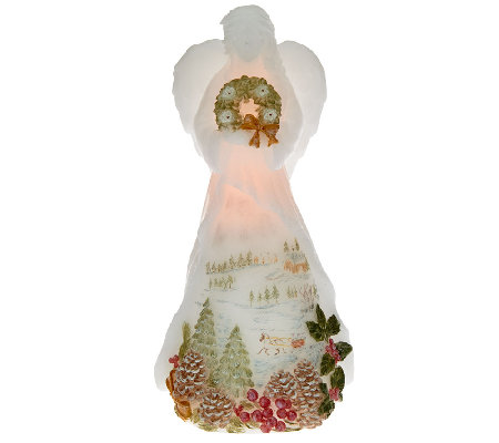 "Candle Impressions 11"" Angel Flameless Candle with Holiday Scene"