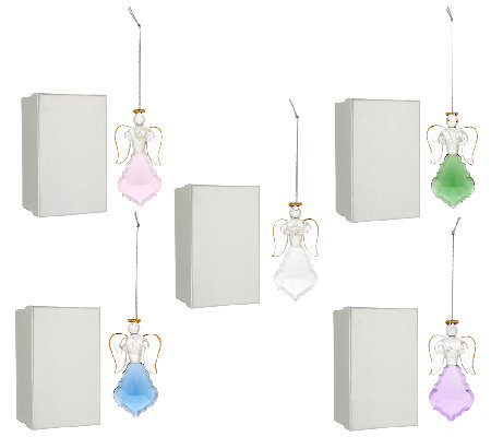 """As Is"" Set 5 Angel Faceted Glass Ornaments with Gift Boxes by Valerie"
