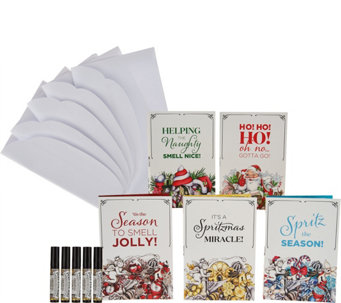 Poo-Pourri Set of 5 Holiday Cards with Envelopes & 4 mL Original - H209344
