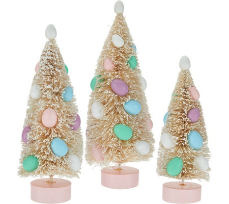 Set of 3 Easter Egg Bottlebrush Trees by Valerie