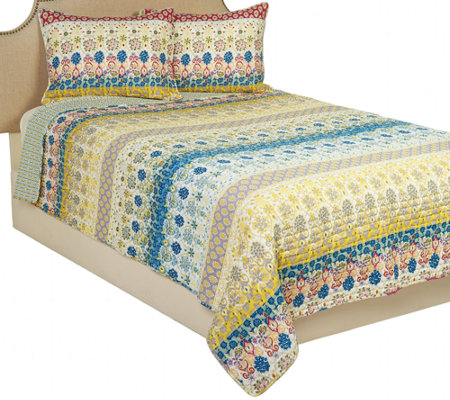 Spring Floral 100% Cotton King Quilt with Storage Bin