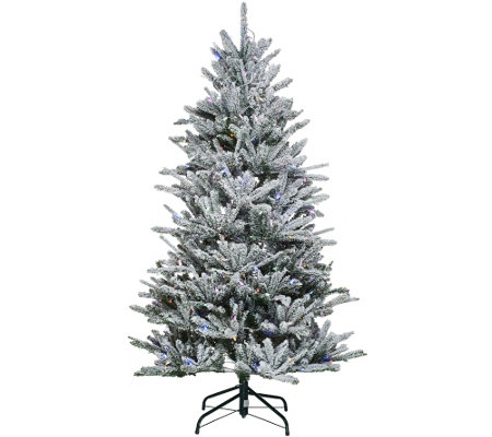 """As Is"" Santa's Best 6.5' Snow Flurry Tree with 7 Function LED Lights"
