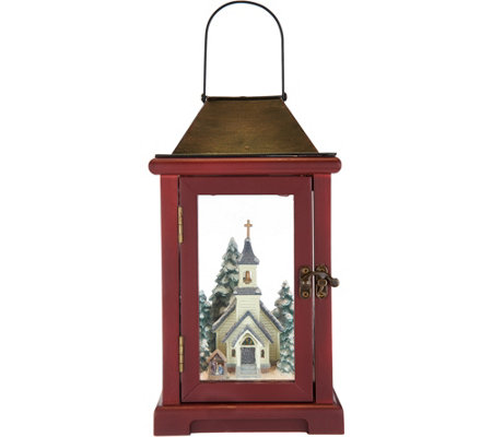 "Choice of 15"" Illuminated Lantern with Winter Scene by Valerie"