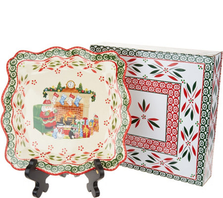 Temp-tations Old World Holiday Square Platter w/Stand and Gift Box