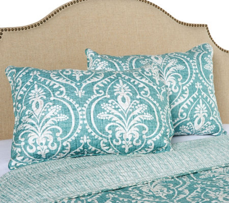 Verona 100% Cotton Damask Print Set of 2 Pillow Shams