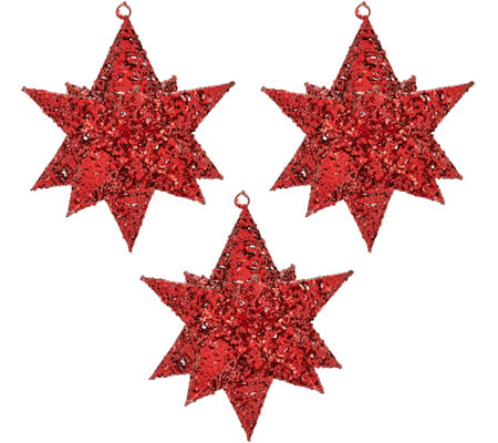 """As Is"" Set of 3 10"" Glittered Decorative Stars w/Hangers by Valerie"