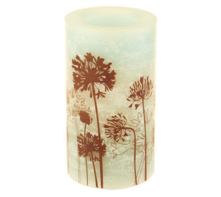 "Candle Impressions 6"" Marbleized Flameless Floral Candle"