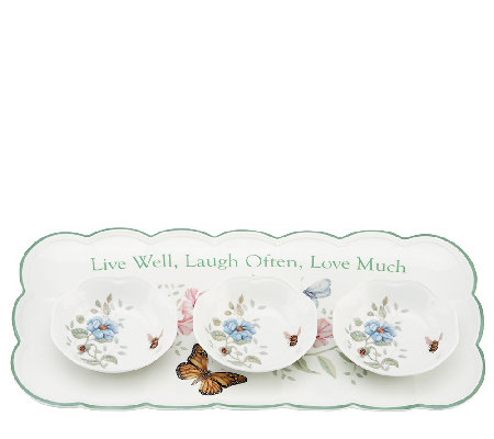 Lenox Butterfly Meadow Hors d'Oeuvre Tray with Dipping Bowls