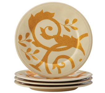 Rachael Ray Gold Scroll 4-Piece Round AppetizerPlate Set - H290244
