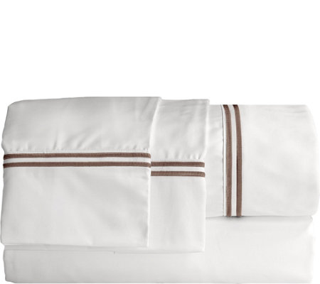 Elle 1200TC Embroidered Stripe Queen Sheet Set
