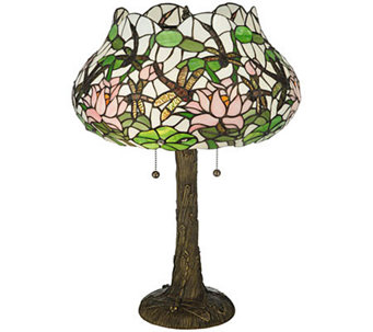 "Tiffany Style 22-1/2""H Dragonfly Flower Table Lamp - H355944"