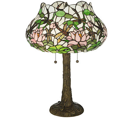 "Tiffany Style 22-1/2""H Dragonfly Flower Table Lamp"