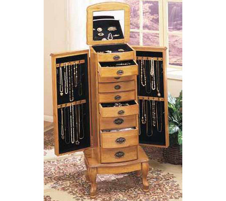 Powell Pine Natural Finish Jewelry Armoire — QVC.com