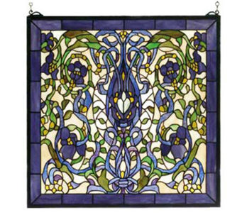 Tiffany Style Ribbons & Flowers Window Panel - H124445