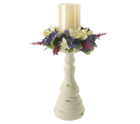 "BethlehemLights 16"" Flameless Pillar Candle with FloralRing with Timer"