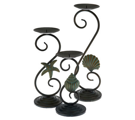 Home Reflections Set of 3 Coastal Candleholders