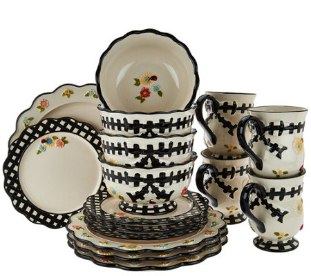 Temp-tations 16-piece Gingham Garden Service for 4 Dinnerware