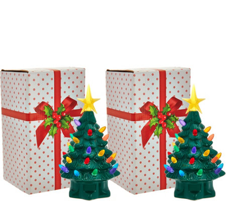 "Mr. Christmas Set of 2 7"" Miniature Nostalgic Tabletop Trees"