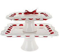 2-piece Ceramic Stackable Square Servers with Ribbon by Valerie - H208745