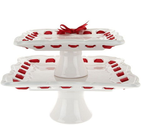 2-piece Ceramic Stackable Square Servers with Ribbon by Valerie