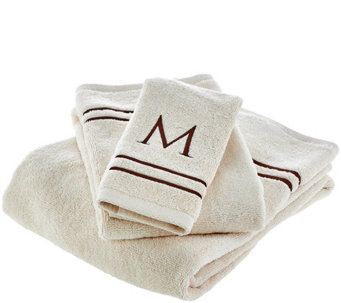 Northern Nights 100% Cotton Initial Letter 3 Piece Towel Set - H209645