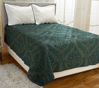 """As Is"" Dennis Basso Micro Mink FL/QN Christmas Coverlet - H210345"